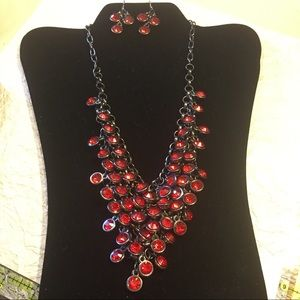 Gun Metal + Red Collar Necklace & Dangle Earrings